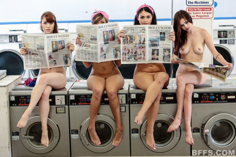Doing laundry nude