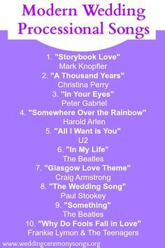 Most popular bridal processional songs