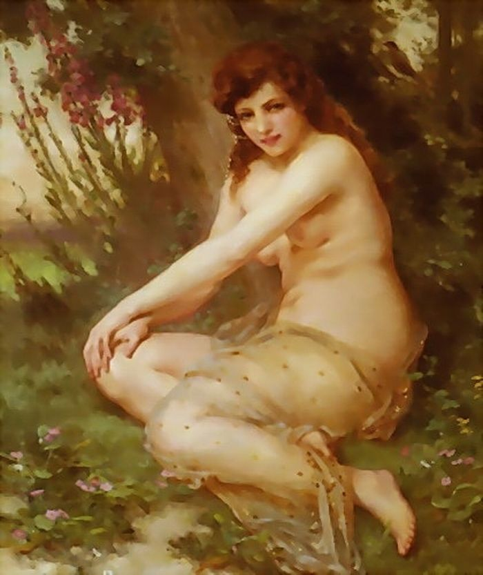 Nude chicks in behavior as forest nymph